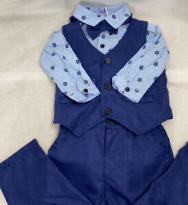 Tuxedo Suit Long Sleeve Bow tie Shirt Waistcoat 80 12 Months