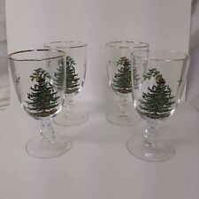 Spode Glass Christmas Tree Pedestal Water Goblets Gold Rim Set of 4 In Box VTG
