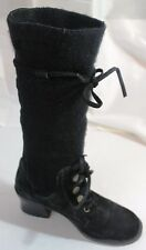Black Suede Leather Boots Knit Wide Calf 7.5 Colin Stuart Vintage look