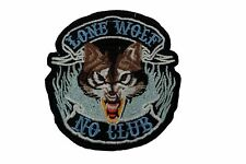 Embroidered Motorcycle / Biker Patch - Lone Wolf, No Club - SMALL 10cm x 9.5cm