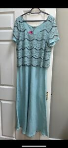 Chesca BNWT Linen And Lace  Dress Aqua Size 20 Mother Of Bride/Groom