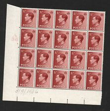 Ed Viii - 1 1/2d red-brown cylinder block x 20. P3c hair flaw retouched. Mnh.