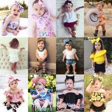 UK Toddler Baby Kid Girl Dress Outfits Floral TuTu Skirt+Short Pants Clothes Set