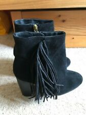 VINTAGE TOPSHOP HIJACK BLACK SUEDE ANKLE BOOTS W/ FRINGE UK 3 BRAND NEW WITH ORI
