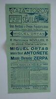 1952 Cartel Plaza de Toros Sevilla Ortas Lancha Antoñete Zerra Gran Novillada