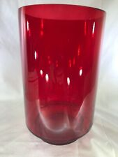 """Red Glass Hurricane Candle Holder 6"""" Diameter x 9.65"""" High Holds 3"""" Round Candle"""