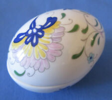 Collectible Coalport Floral Fine Bone China Egg Shaped Lidded Trinket Box