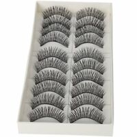 10 Pair Black Long Thick Soft Reusable False Eyelashes Fake Eye Lash f Makeup BT