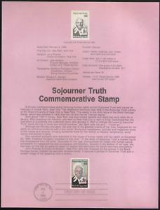 US. SP743. 2203. 22c. Sojourner Truth. Black Heritage. Souvenir Pages.1986