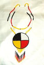 """Beaded Medicine Wheel 3"""" Rosette Necklace Powwow Regalia Fair Trade"""