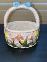 "Easter Basket w/Handle And Flowers Spring Decor Ceramic 5.5"" x 6""- Preowned"