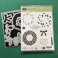 Stampin Up Bundle WONDROUS WREATH Stamp Set & WONDERFUL WREATHS Dies Christmas