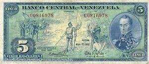 VENEZUELA 5 BOLIVAR P49 1966 *COMMEMORATIVE* 400th ANY CARACAS MONEY BANK NOTE