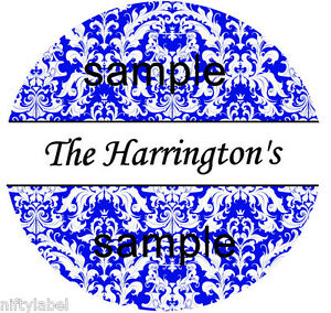 BLUE DAMASK PRINT DESIGN #77 HERSHEY KISS LABELS  - GLOSSY OR MATTE FINISH