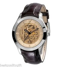 NEW EMPORIO ARMANI BROWN LEATHER AUTOMATIC MECCANICO SKELETON WATCH-AR4645