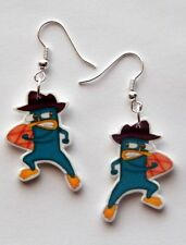 Disney Phineas and Ferb Cartoon Perry the pet Platypus earrings