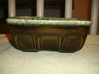 Vintage Hull USA F469 Rectangular Bowl Planter Green Brown Glaze