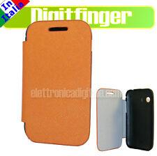 CUSTODIA ULTRA SLIM libro X Samsung S5360 Galaxy Y Eco PELLE Arancio Flip Cover