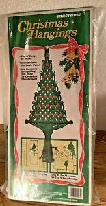 Vtg Macrame Christmas Tree Retro Door wall hanging Kit Boho Holiday Decor