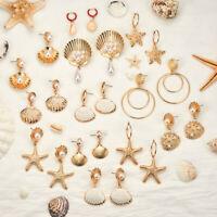 Women Fashion Pearl Sea Shell Earrings Bohemian Circle Dangle Drop Beach Jewelry