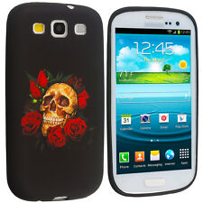 Rose Red Skull Black TPU Design Soft Case Skin Cover for Samsung Galaxy S3 S III