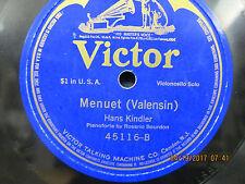Hans Kindler - Menuet (Valensin) & Gavotte (Popper) - Victor  - 78 RPM