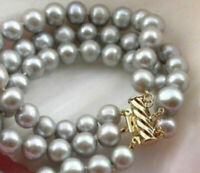"""SOUTH SEA 3 ROW AAA 9-10MM GRAY PEARL BRACELET 7.5-8""""14K GOLD CLASP"""