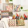 EE_ KD_ Geometric Colorful Pattern Linen Pillow Case Sofa Cushion Cover Home Dec