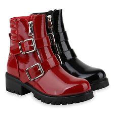 Damen Stiefeletten Biker Boots Lack Stiefel Blockabsatz Schnallen 831698 Schuhe