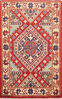 South-western Red 2'x3' Geometric Kazak Vegetable Dye Rug Traditional Hand-made