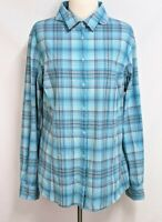 Duluth Womens XL Blue Yellow Plaid Vented Roll Tab Sleeve Button Hiking Top