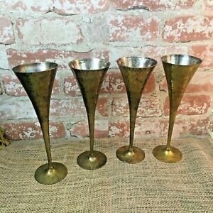 LOT OF 4 VINTAGE HAMMERED BRASS Fluted goblets, rustic brass fluted goblets