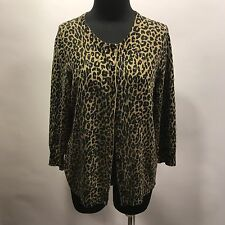 Talbots Italian Merino Wool Tan Black Animal Print Thin Knit Cardigan Sweater L