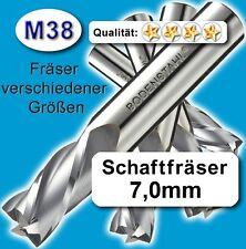 7mm Fräser L=60 Z=2 M38 Schaftfräser Metall Kunststoff Holz vergl. HSSE HSS-E