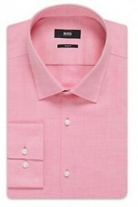 Boss Hugo Boss Black Label Dark Pink Jenno Weave Slim Fit Dress Shirt