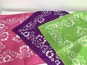 "Set 3 polyester bandanas pink purple green Hibiscus flowers scarves 20"""