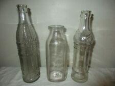 LOT OF 3 VINTAGE GLASS BOTTLES SERVALL MILK, CAMMARANO BROS., NEHI SODA