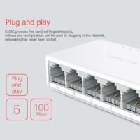 5 Port Desktop Ethernet Network Switch 10/100Mbps LAN Hub Splitters Adapter Tool