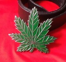 Canapa Cannabis Erbaccia Foglia POT Marijuana Erba hash VERDE hipie Fibbia Cintura in pelle