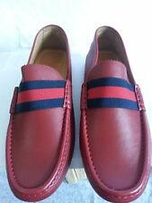 NEW MEN GUCCI WEB DETAIL RED LEATHER MOCCASINS DRIVER SHOES G8.5/US 9
