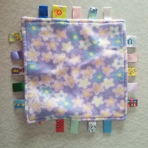 Taggies Baby Blanket Pink Lavender Flowers 12 x 12 Lovey Security Blankie Girl