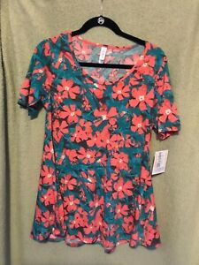 LuLaRoe XS Perfect T   NWT. Green with pink flowers.