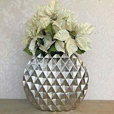 Geo Cut Aluminium Round Silver Burnished Vase Display Gift