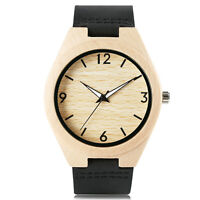 Hot Nature Wood Bamboo Genuine Leather Band Strap Men Women Quartz Wrist Watch