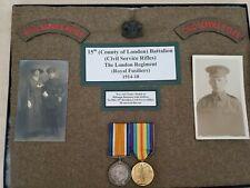 Wwi British Civil Service Rifles, Shoulder Insignia, Medals, Photos