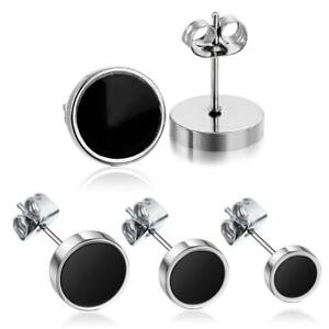 Mens Womens Round Barbell Stainless Steel Silver & Black Stud Earring