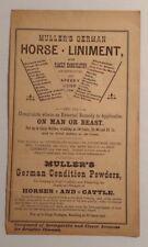 1890 Muller's German Horse Liniment Advertisement