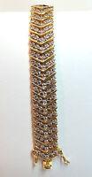 "Sterling Silver & G/O Flexible Chevron Bracelet 7 1/2"" - No Stones"