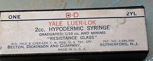 "Vintage B-D YALE-LOK ""Resistance Glass"" (2cc)  Reusable Glass Syringe In Box"