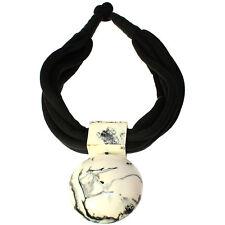 Tribal jewelry oversized round black and white pendant fashion choker necklace